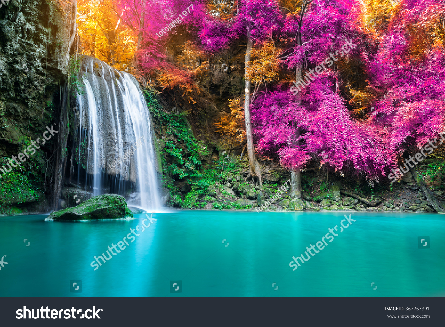 How To Spring Clean Waterfall Autumn Forest Erawan National Park Stock Photo
