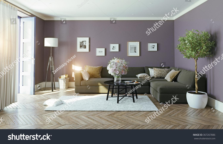 Modern interior3d design concept stock illustration for Modern contemporary design concept