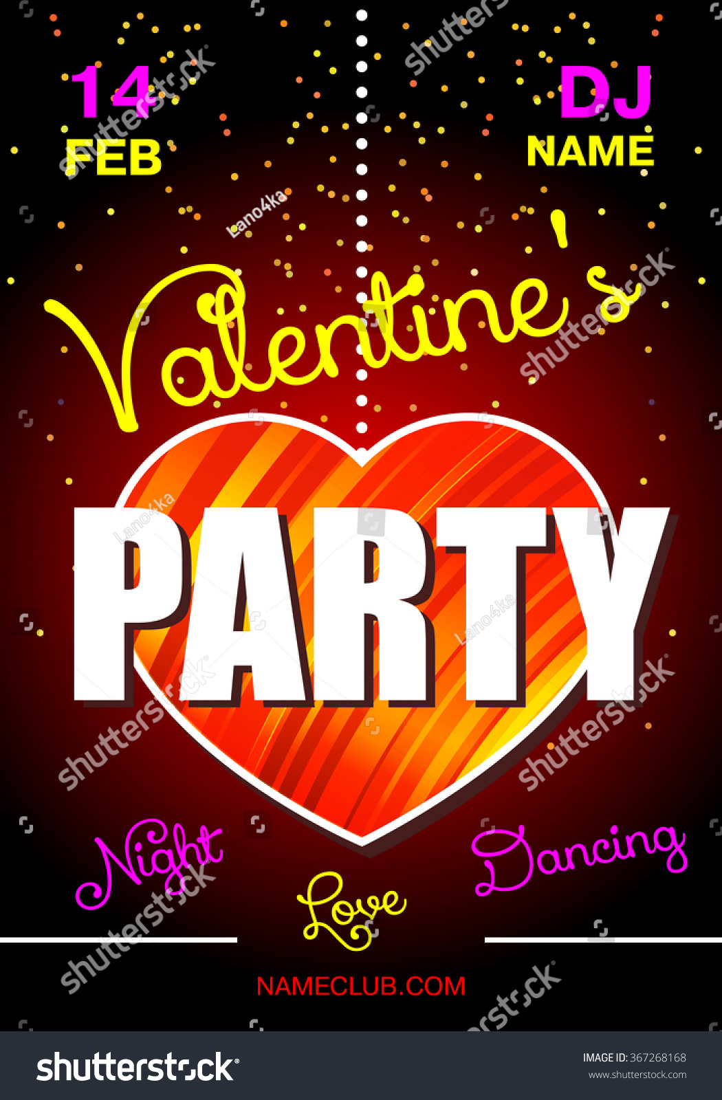 Valentines Day Party Poster Dance Party Stock Vector Royalty Free 367268168