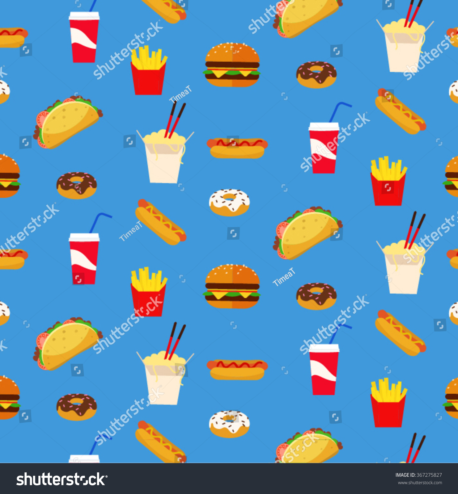 Colorful Fresh Flat Design Fast Food Stock Vector 367275827