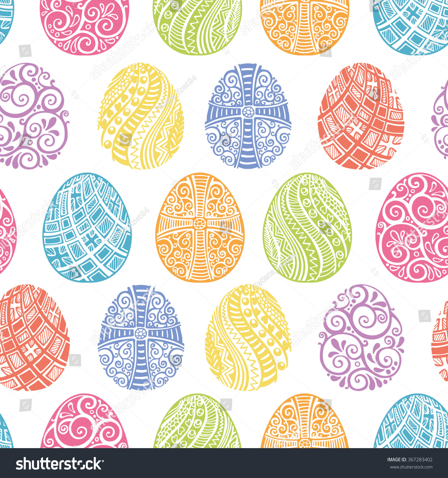 happy easter eggshand drawing eggs seamless stock vector 367283402