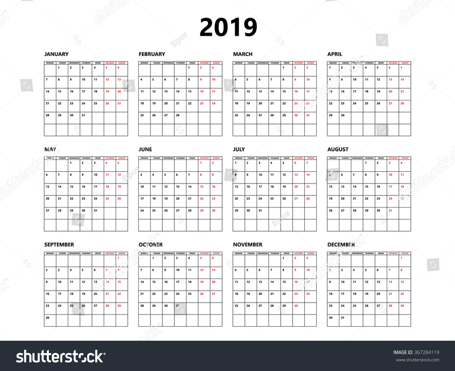 calendar 2019 year simple style with grid week starts from monday