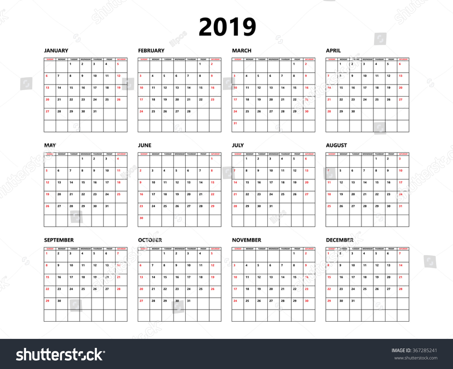 calendar 2019 year simple style with grid week starts from sunday