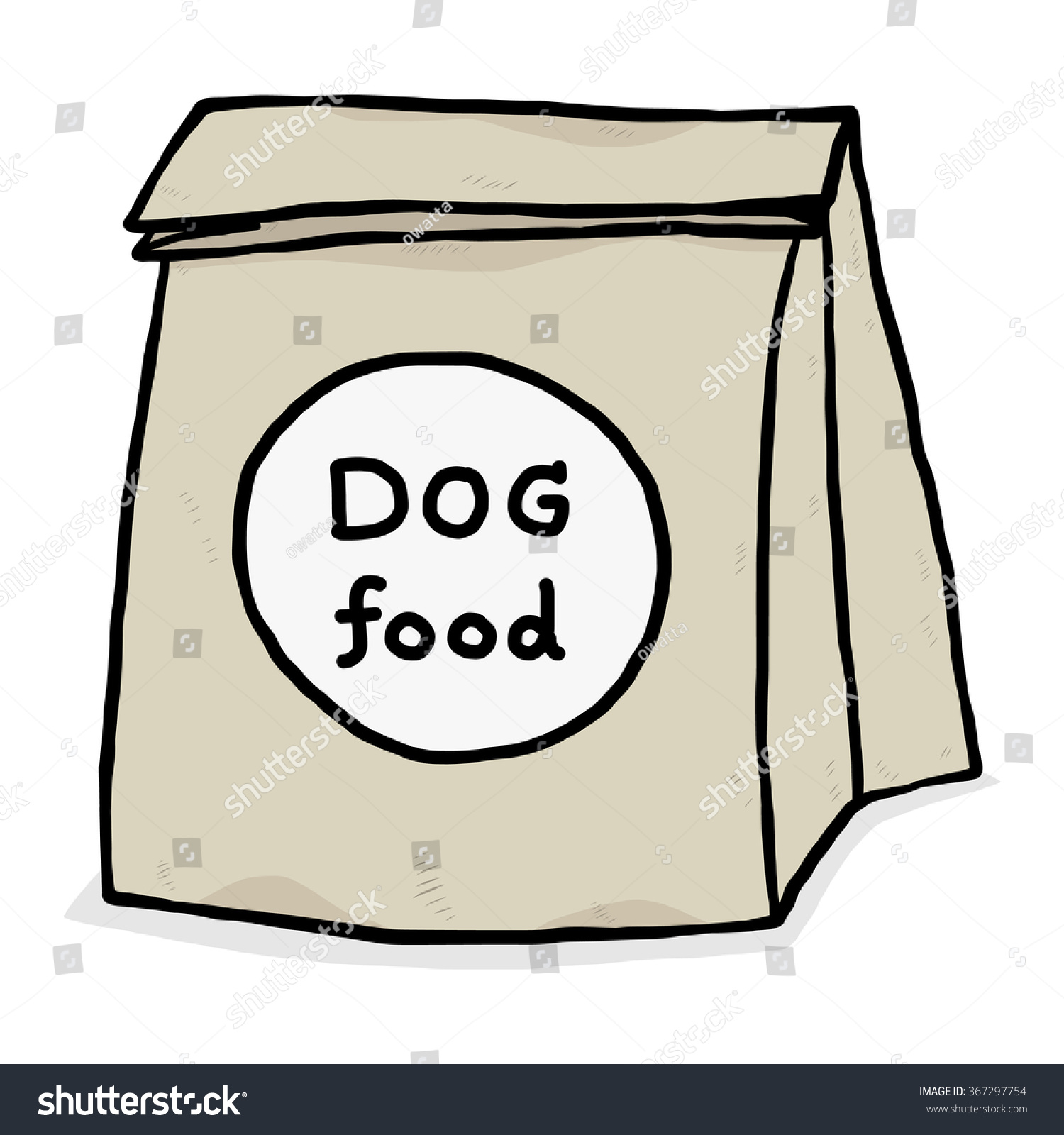 Dog Food In Paper Bag / Cartoon Vector And Illustration ...
