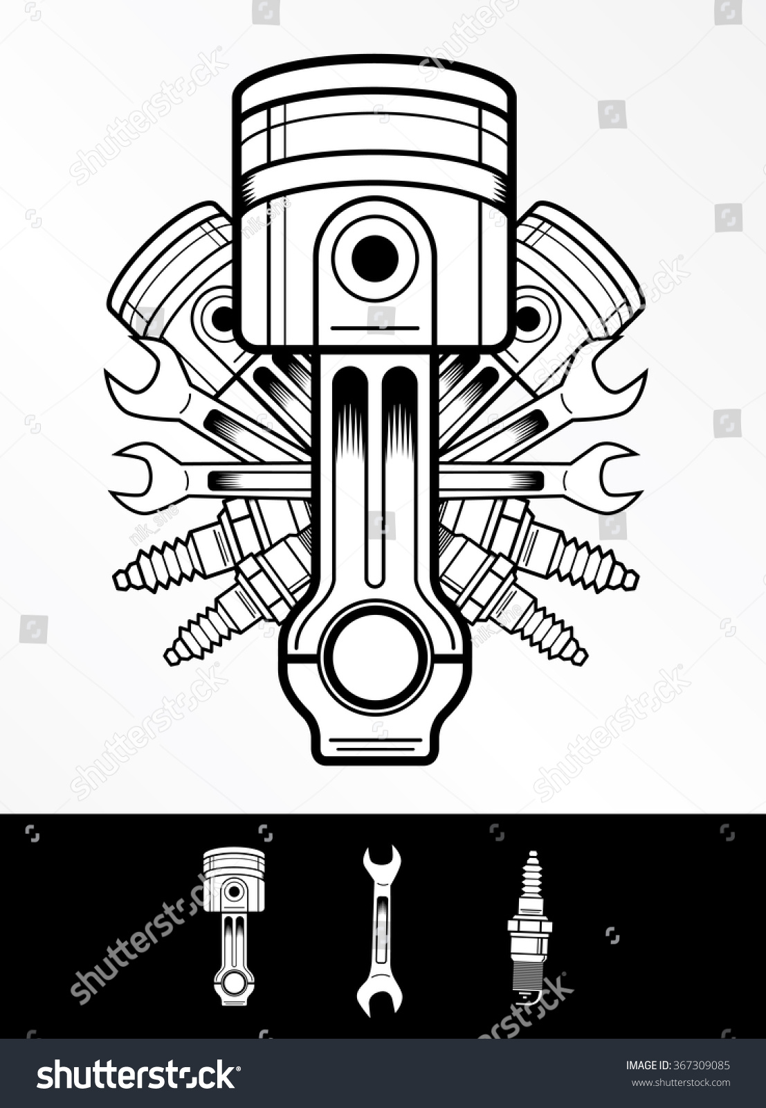 Royalty-free Piston vector logo in retro style #367309085 ...