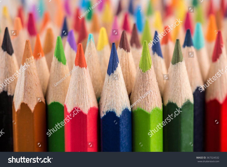 Close up macro shot of color pencil pile pencil nibs #367324532
