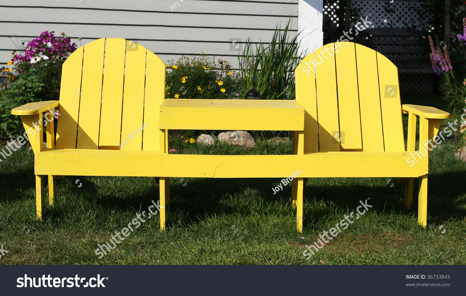 Picture of: Unique Double Adirondack Chairs Table Stock Photo Edit Now 36733843