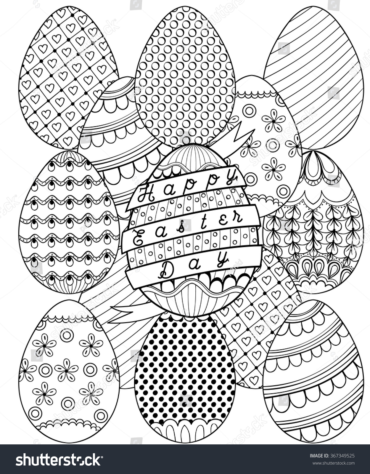 hand drawn artistic easter eggs pattern stock vector 367349525