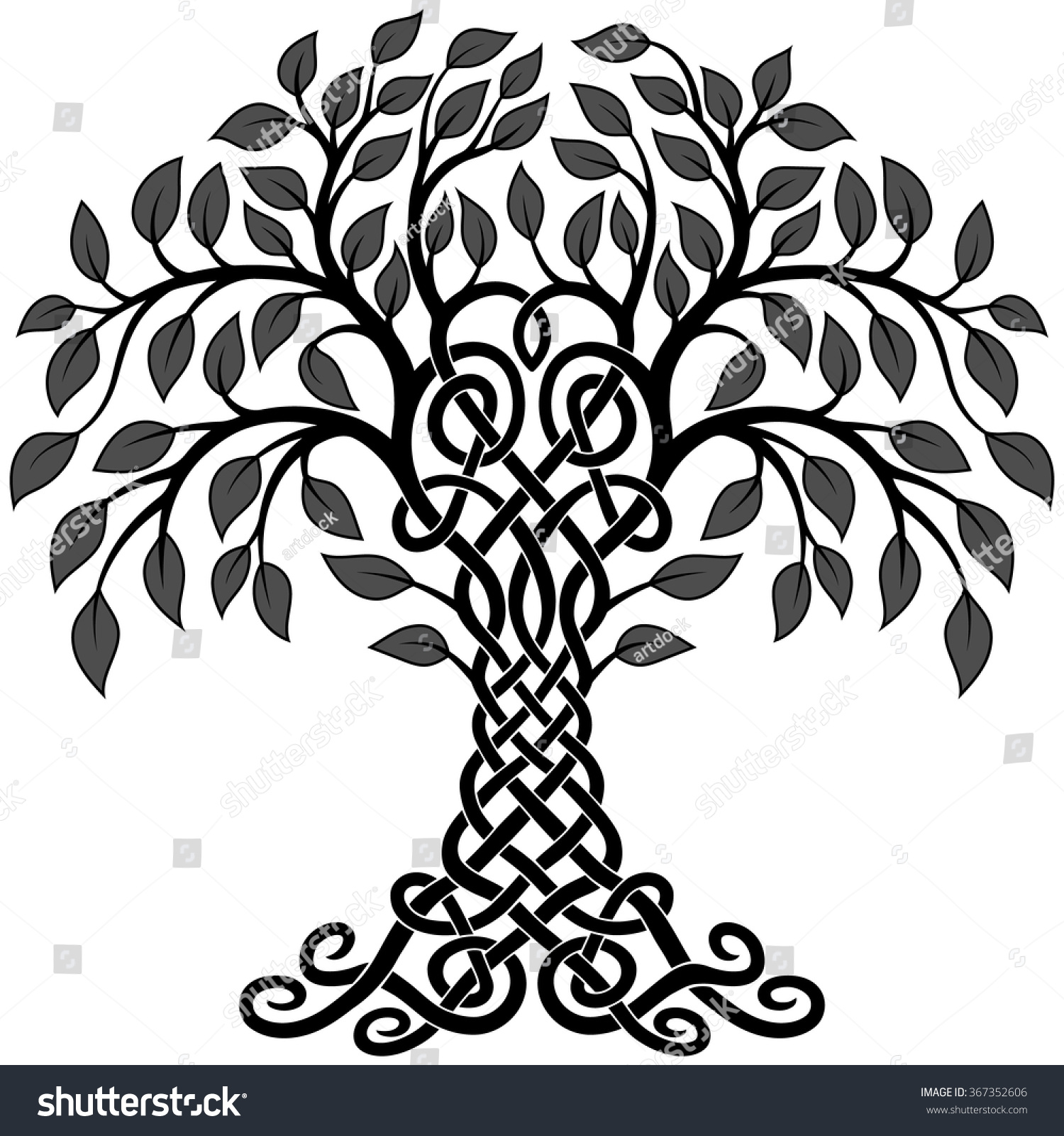 Tree Of Life Invitation Rsvp Celtic Life By: Vector Ornament Decorative Black White Celtic Stock Vector