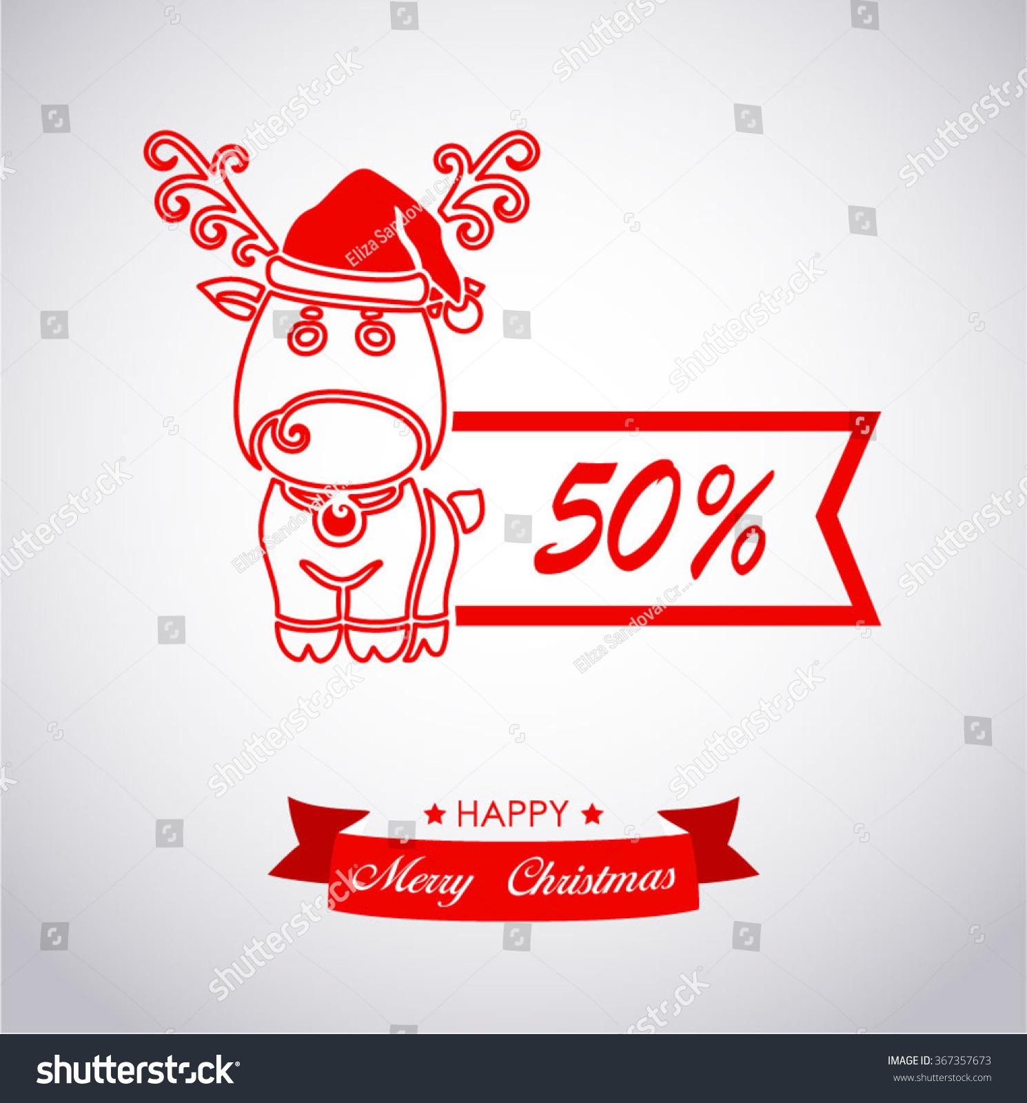 discount christmas reindeer linear stock vector 367357673 shutterstock