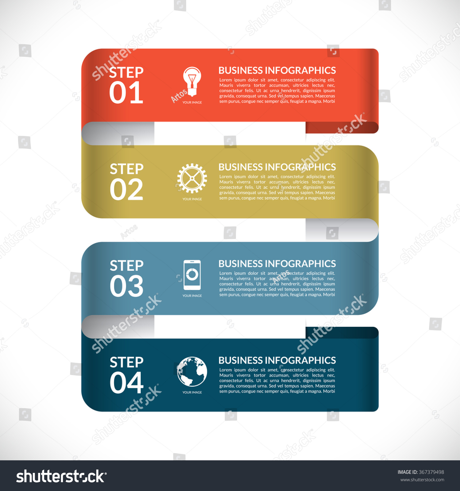 Modern Infographic Design Template Numbered Banner Stock Vector ...