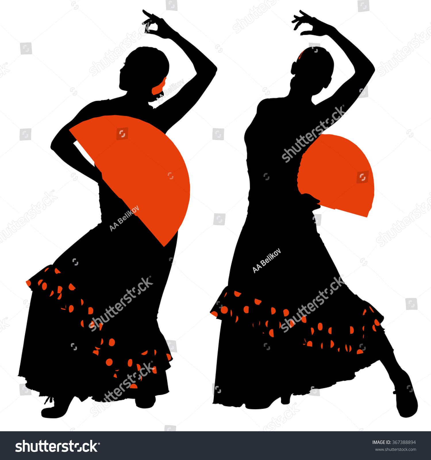 two silhouettes female flamenco dancer stock vector 367388894