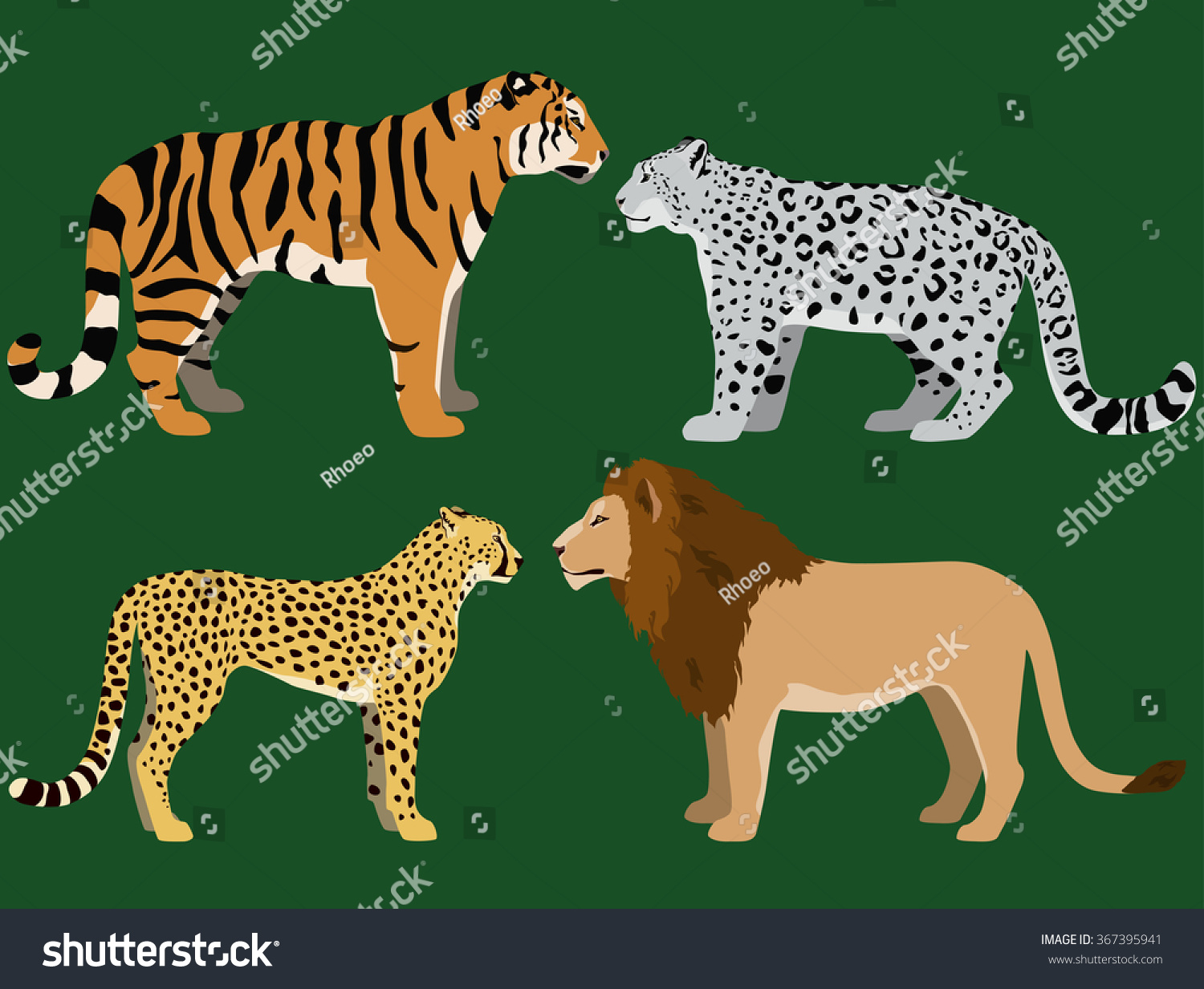 cartoon big cats vector set illustration stock vector 367395941