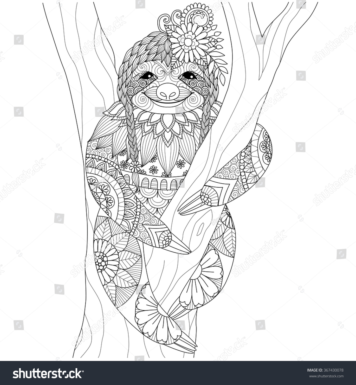 colouring books for adults in australia : Adults Colouring Books Australia Sloth Zentangle Design For Coloring Book For Adult And Other Decorations