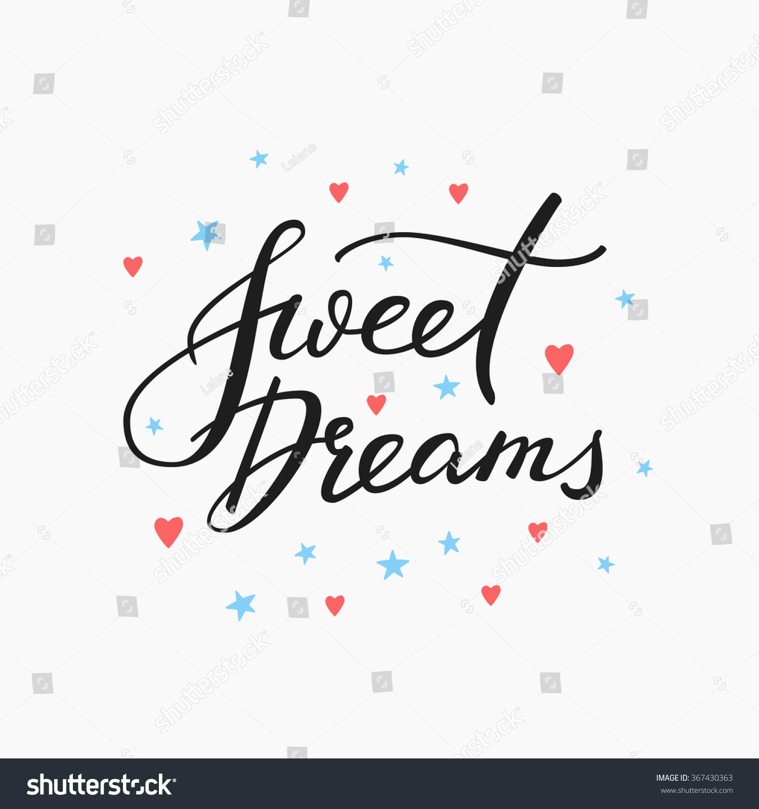 Good night lettering motivational quote sweet stock vector