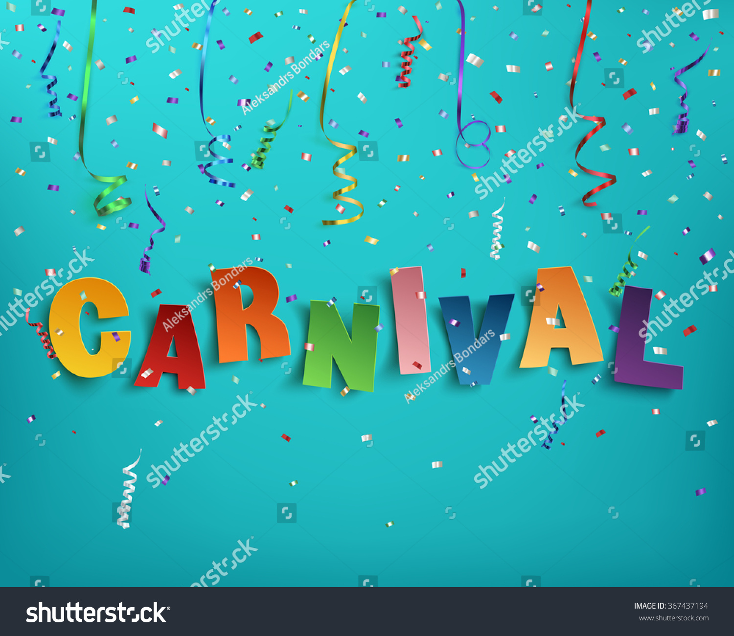colorful handmade typographic word carnival on stock vector colorful handmade typographic word carnival on background ribbons and confetti poster flyer or