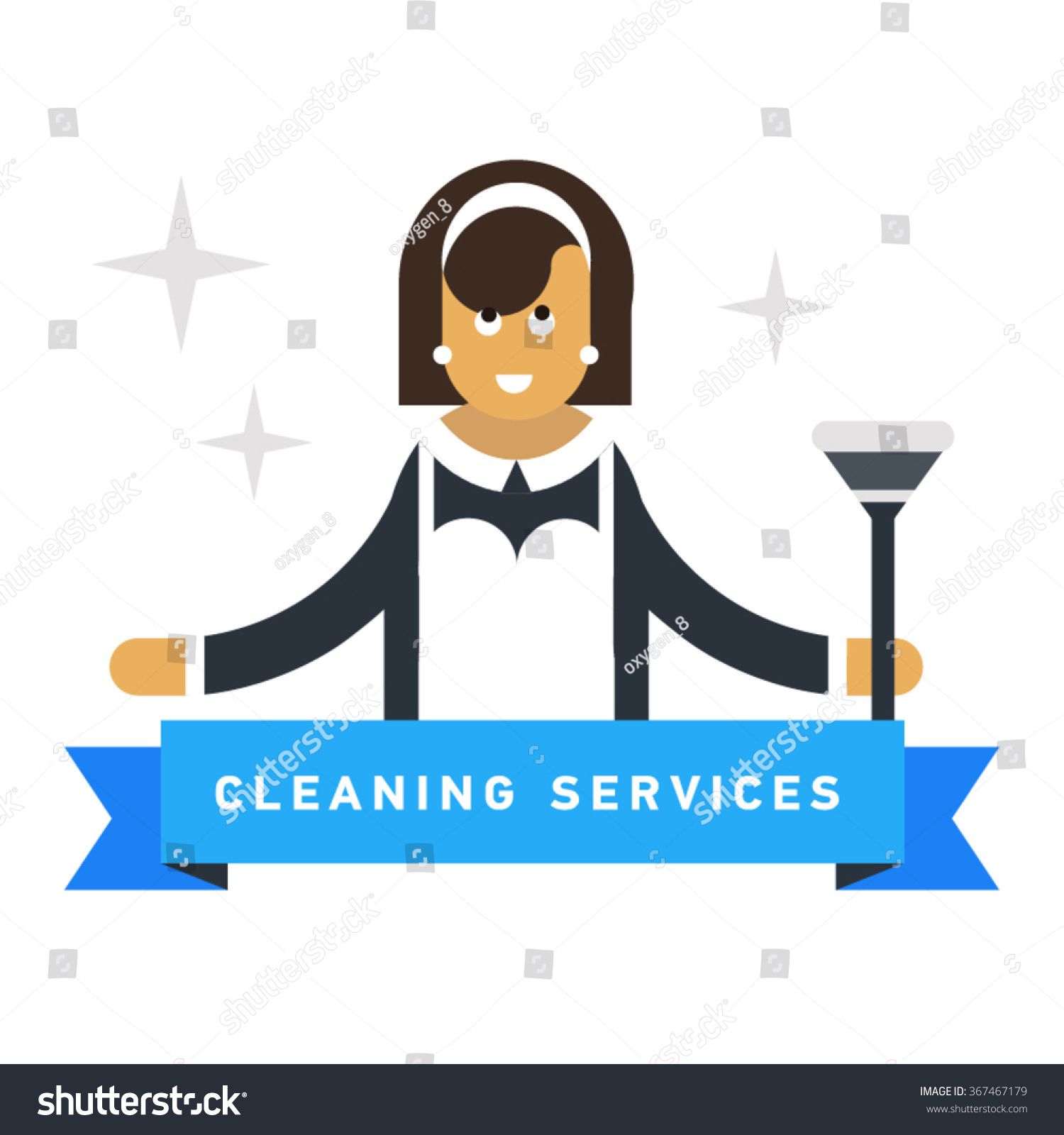 cleaning service advertisement cleaning w classic stock vector cleaning service advertisement cleaning w in classic maid dress cartoon flat vector illustration housekeeper