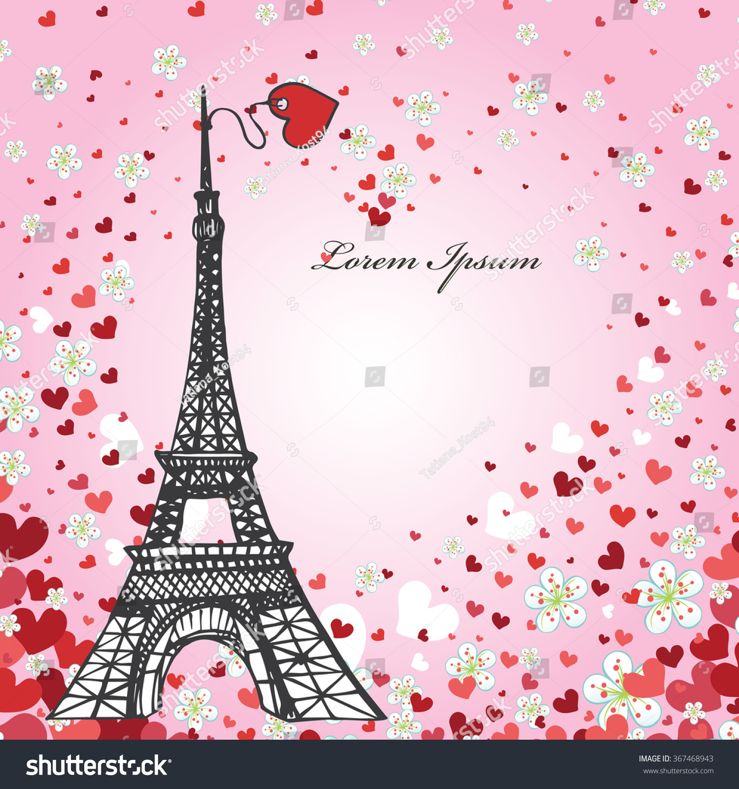 Paris Love BackgroundVintage Valentine Wedding Design Template With Falling Hearts Flowers