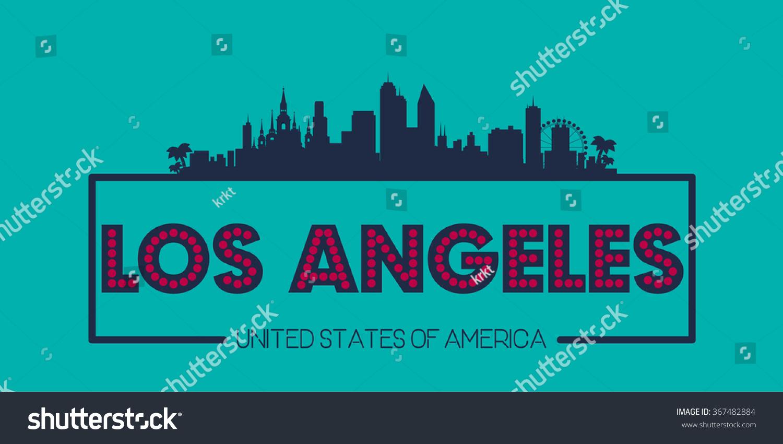 Poster design los angeles - Los Angeles Skyline Silhouette Poster Vector Design Illustration