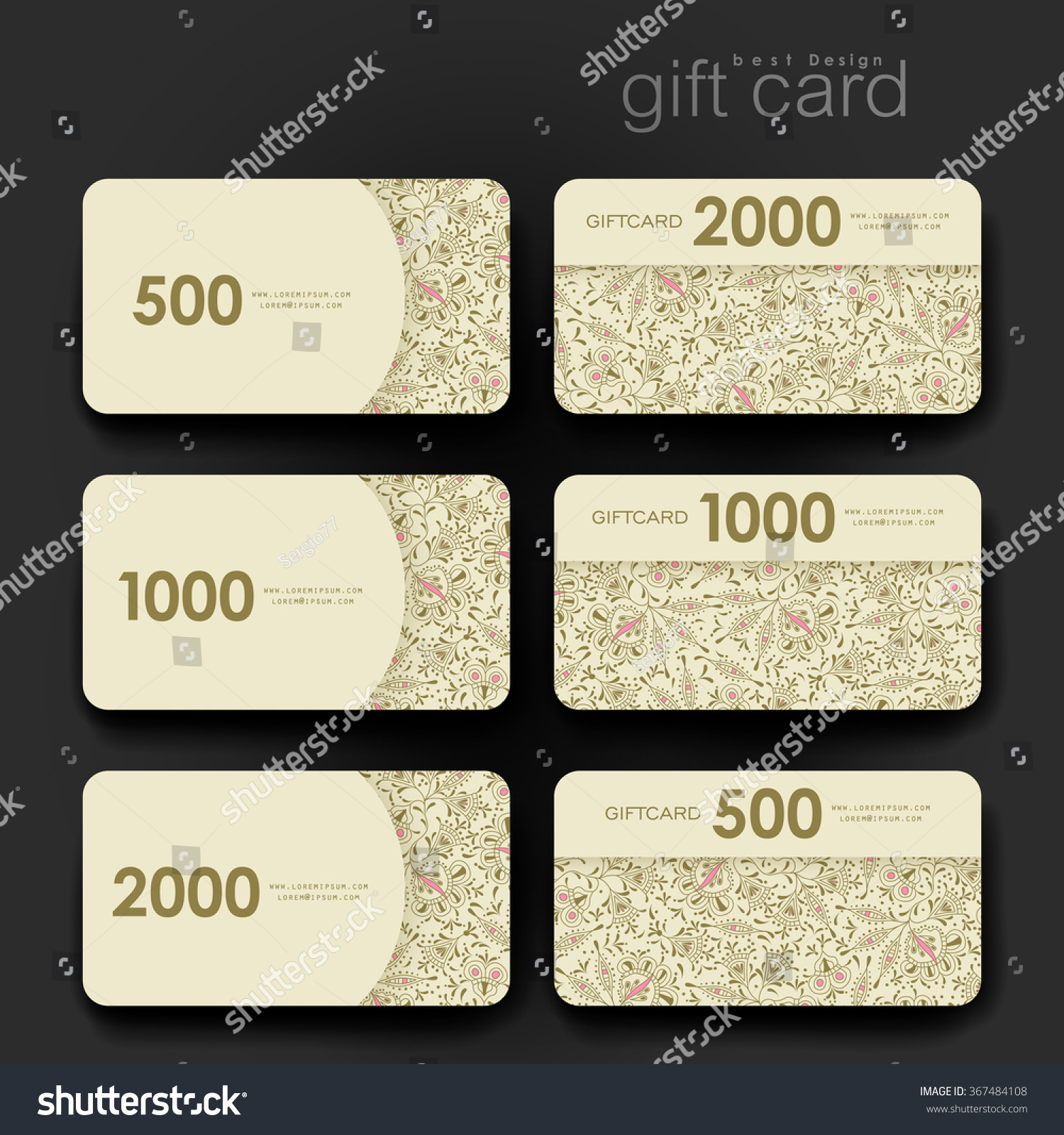 Design of discount card - Gift Coupon Discount Card Template With Floral Ornament Background Creative Layout Design