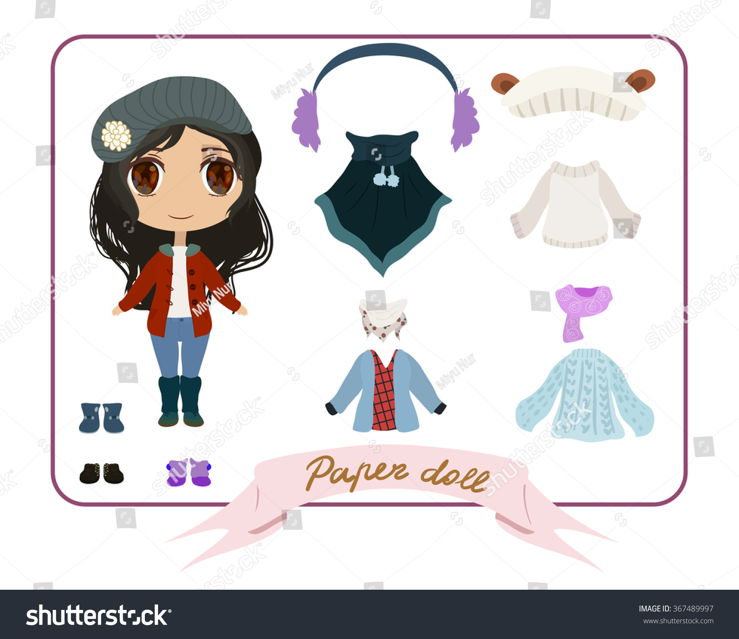 Winter autumn outfit dress up anime girl