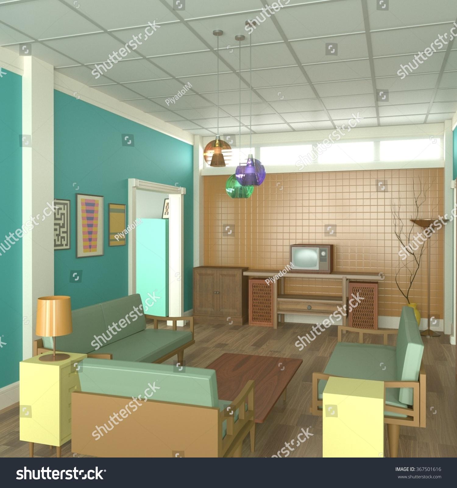 Retro Living Room Interior Design 3D Rendering Image
