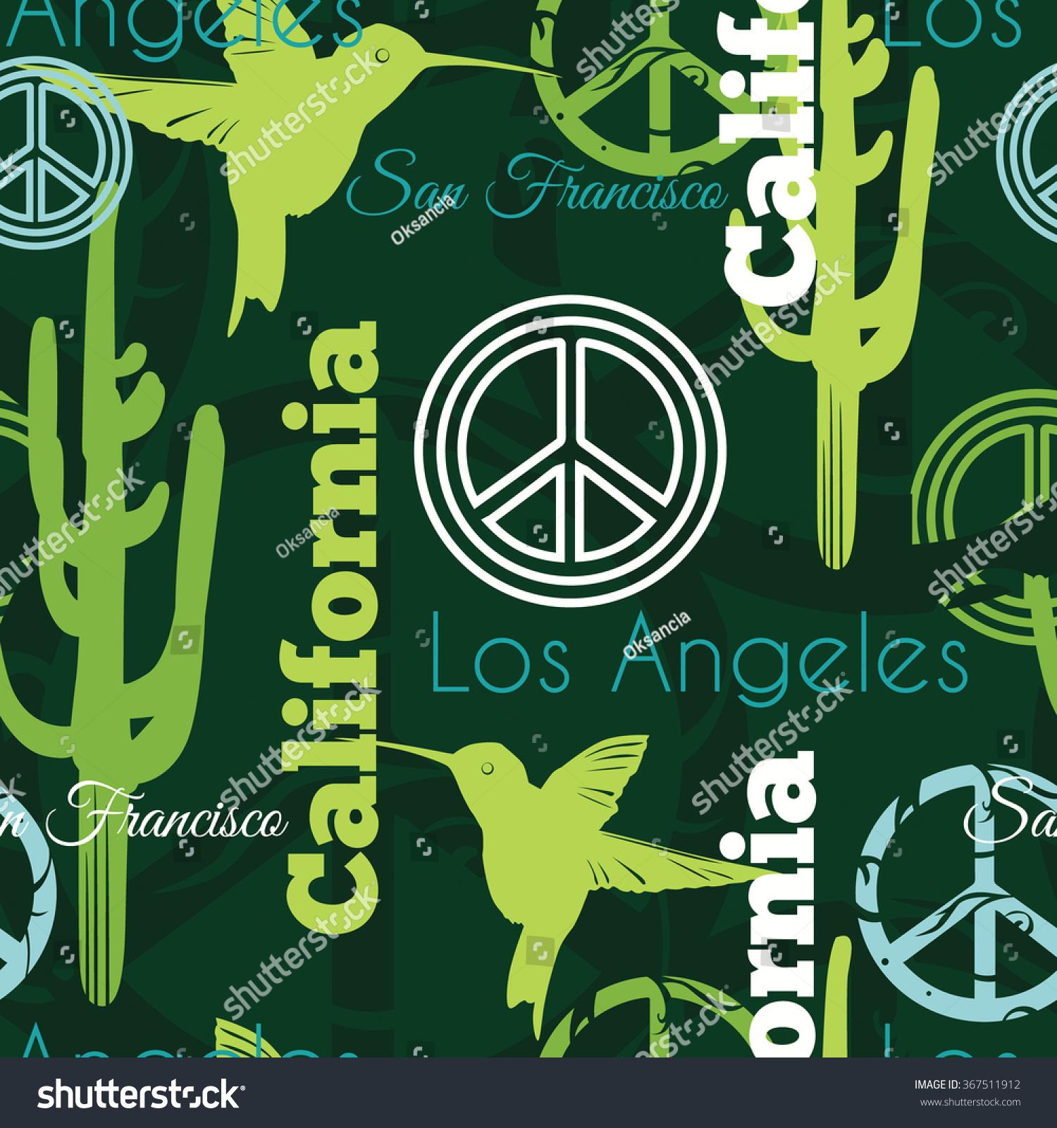 Vector Green California Animals Travel Seamless Stock Vector