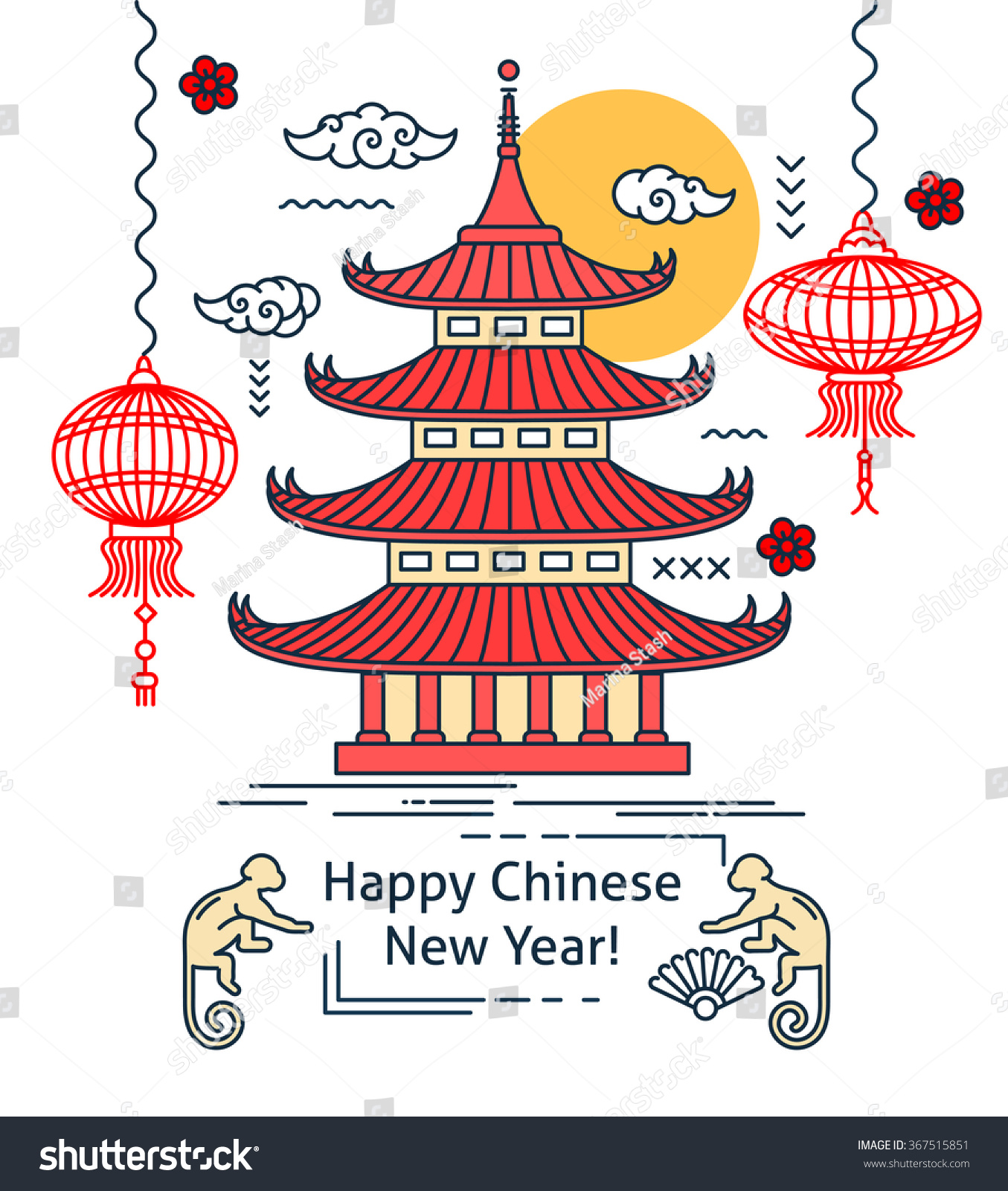 Chinese new year flat thin line stock vector 367515851 shutterstock chinese new year flat thin line greeting card template temple pagoda house lantern kristyandbryce Gallery