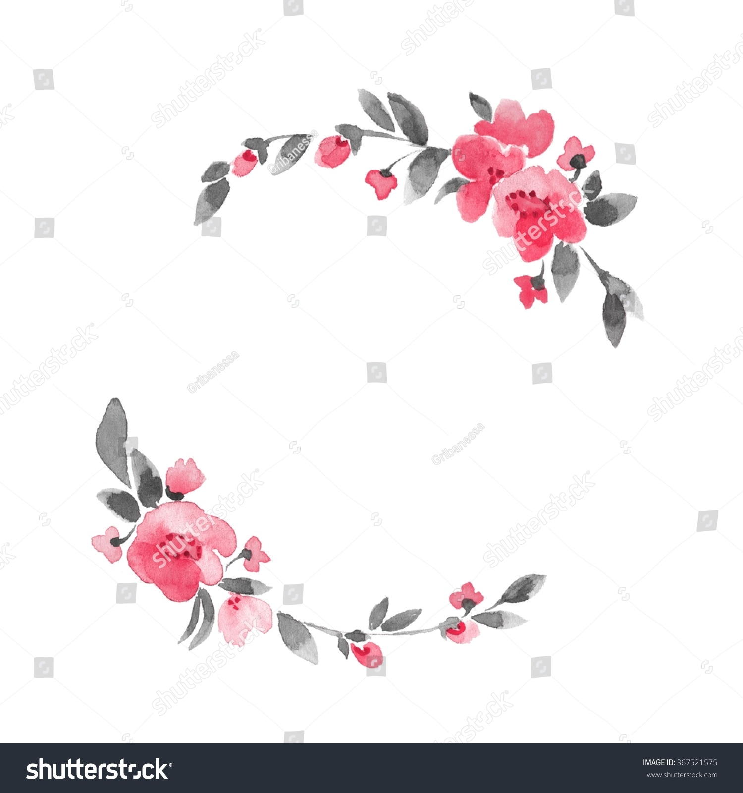 Simple Floral Wreath Watercolor Flowers 3 Stock