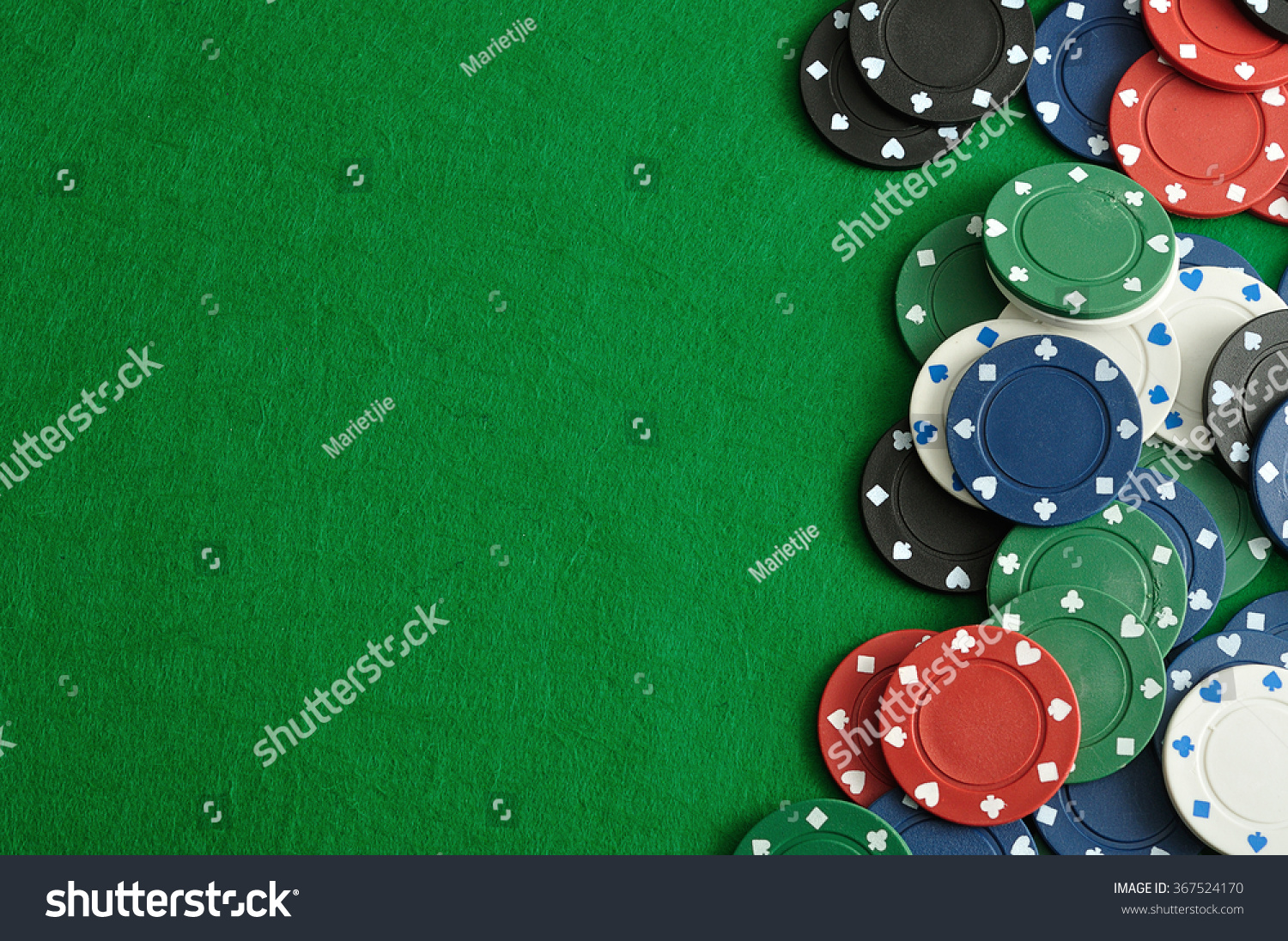 Poker table background - Poker Chips Forming A Border On The Right With A Green Background