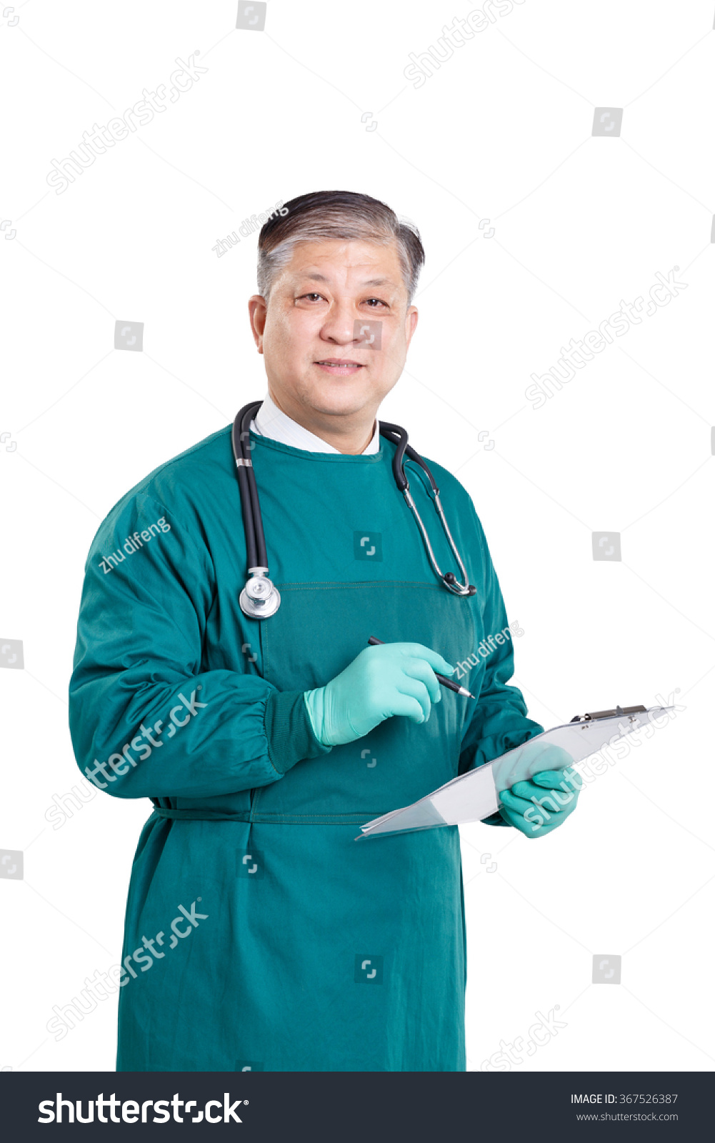 Old Asian Man Doctor Green Gown Stock Photo (Download Now) 367526387 ...