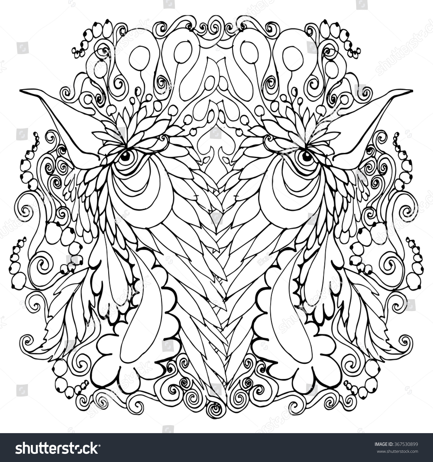 abstract rooster coloring page outlined ink stock vector 367530899