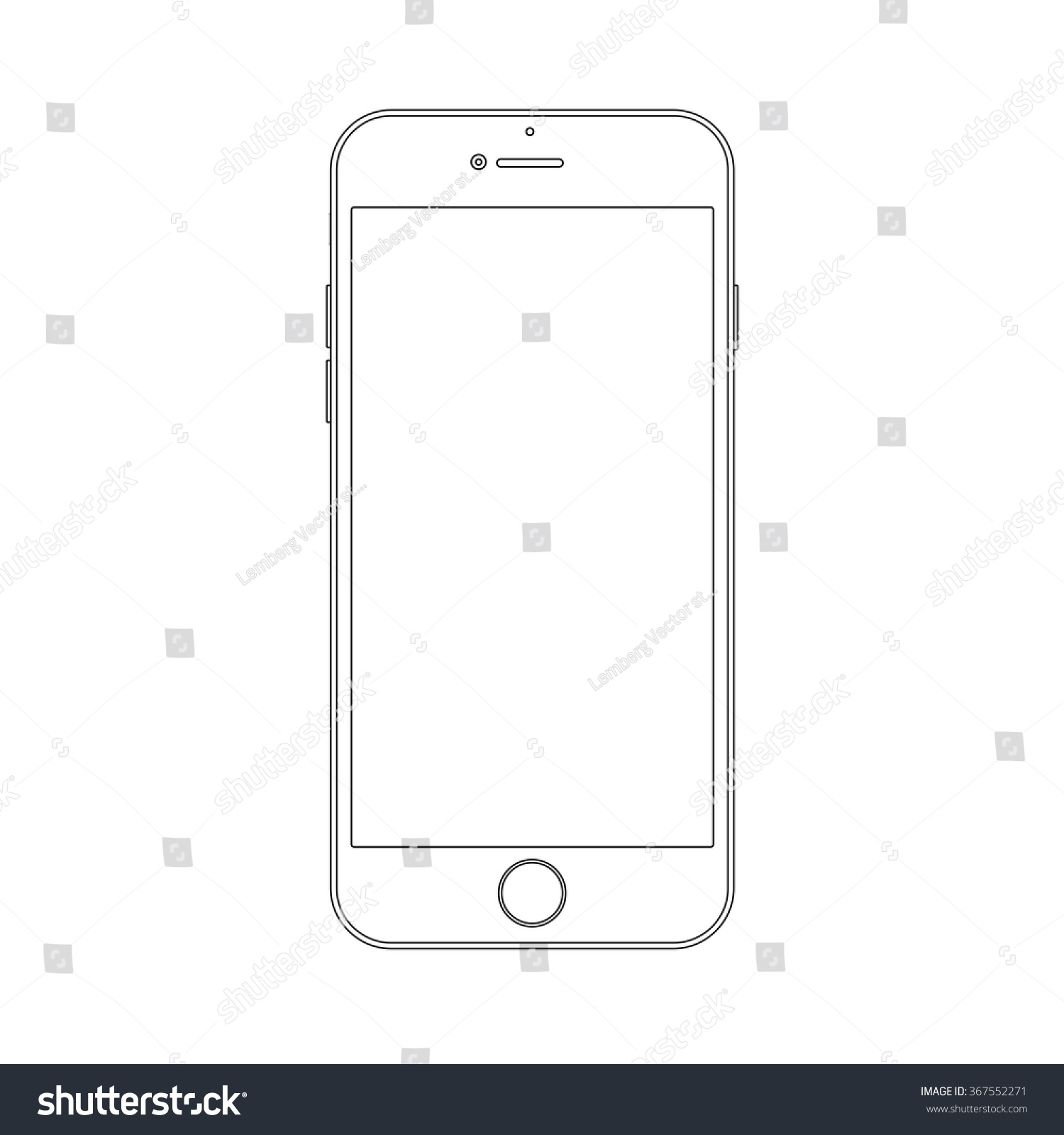 Outline Drawing Smartphone Similar To Iphone. Elegant Thin Line Style ...