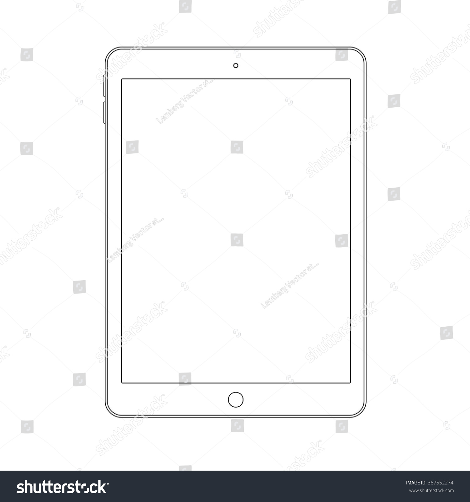 Drawing Smooth Lines In Photo With Tablet : Outline drawing tablet similar ipad air stock vector
