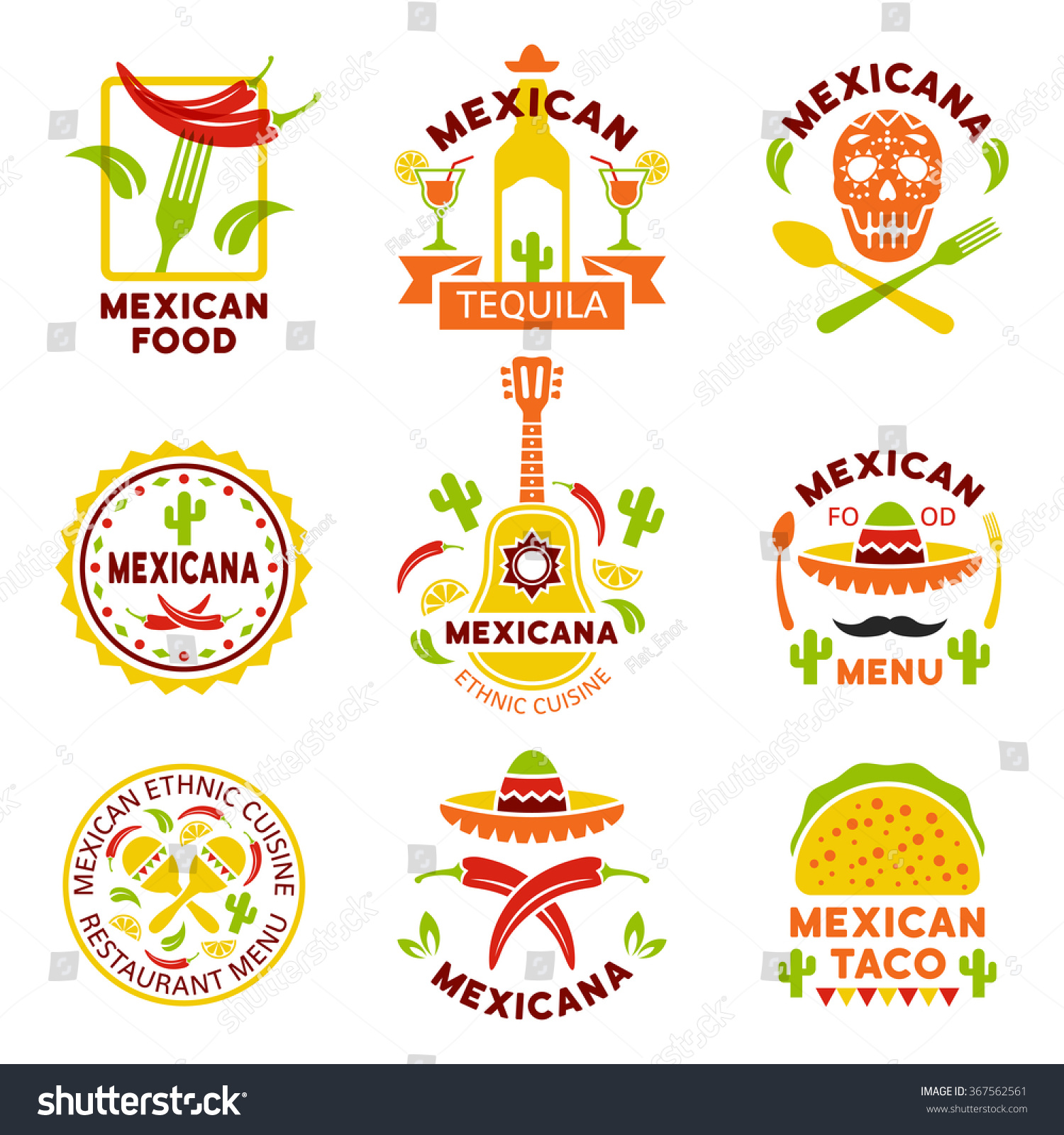 Mexican food logo labels emblems and badges set of for Mexican logos images