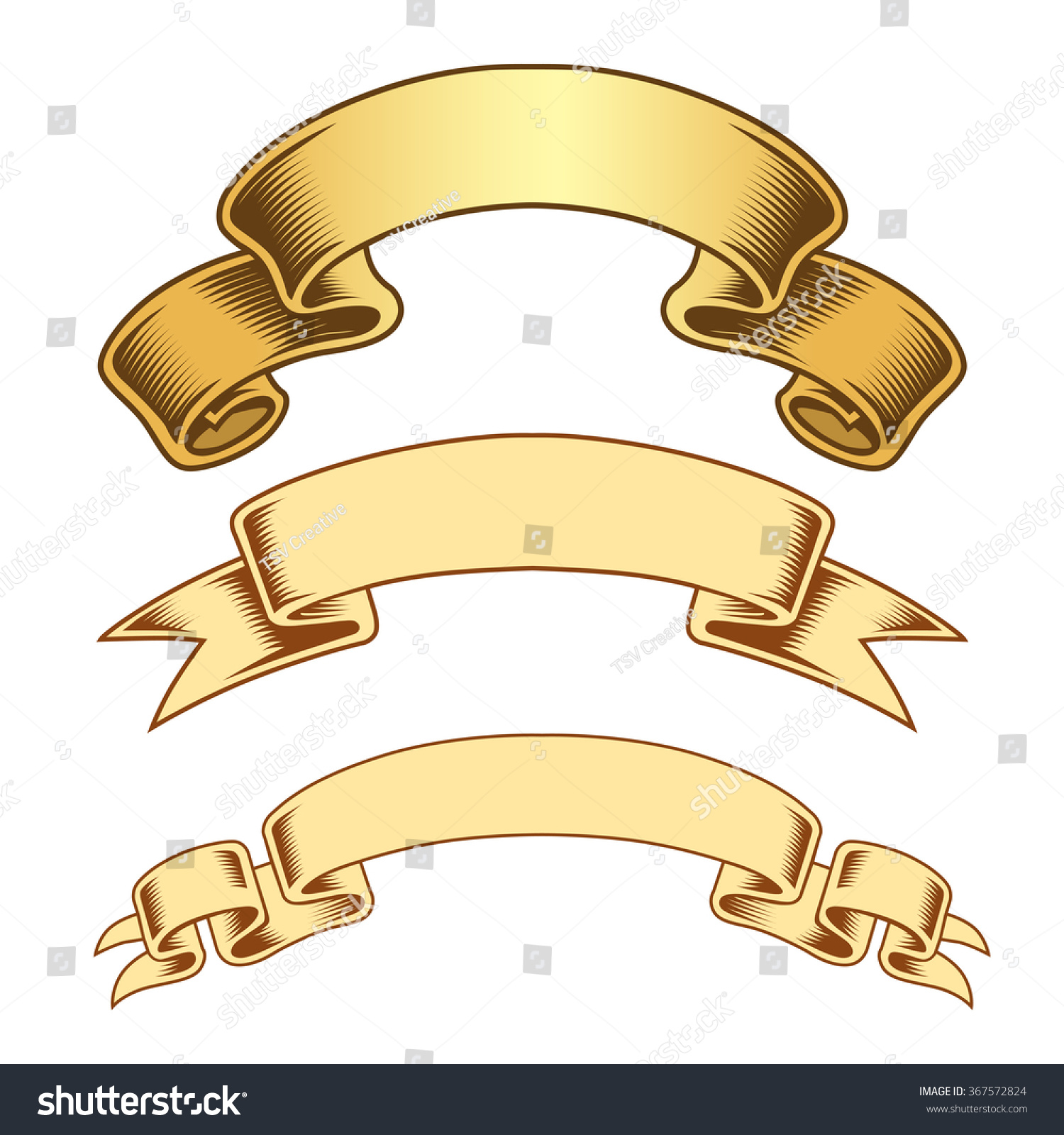 Antique Scroll Vector: Vintage Scroll Engraved Banner Vector 스톡 벡터 367572824