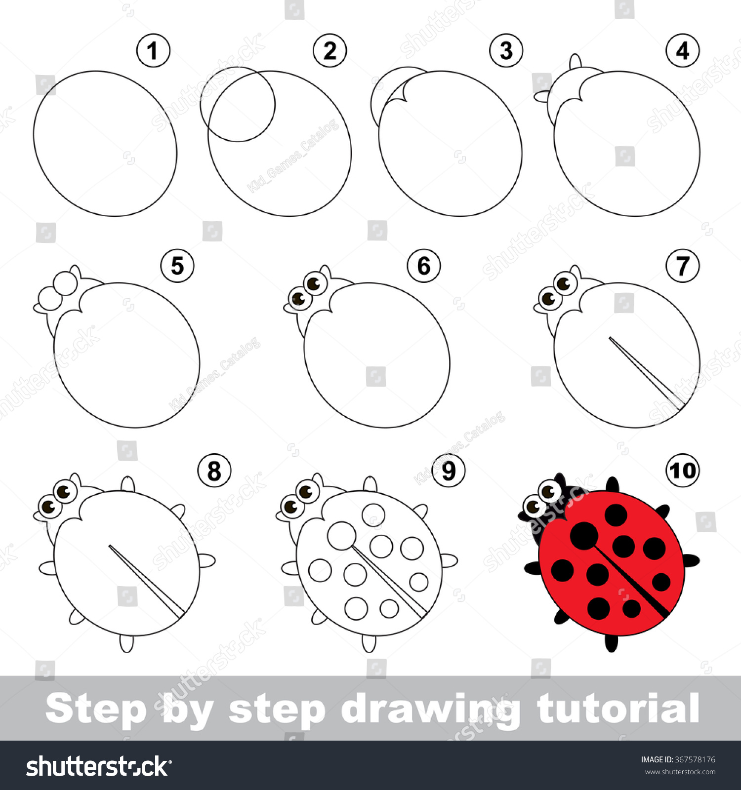 Red ladybug step by step drawing stock vector 367578176 shutterstock red ladybug step by step drawing tutorial pooptronica Gallery