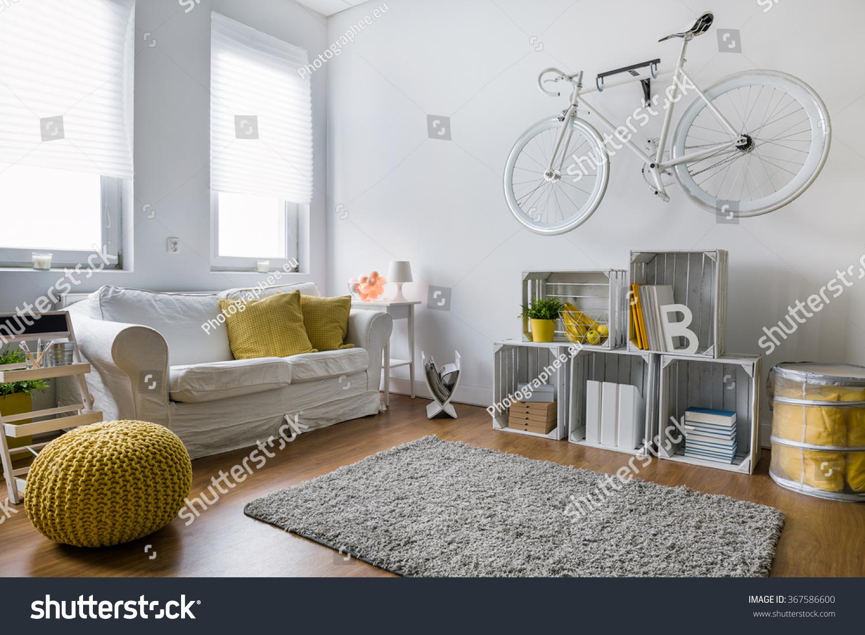 Living Room Sofa Carpet Wood Panels Stock Photo 367586600