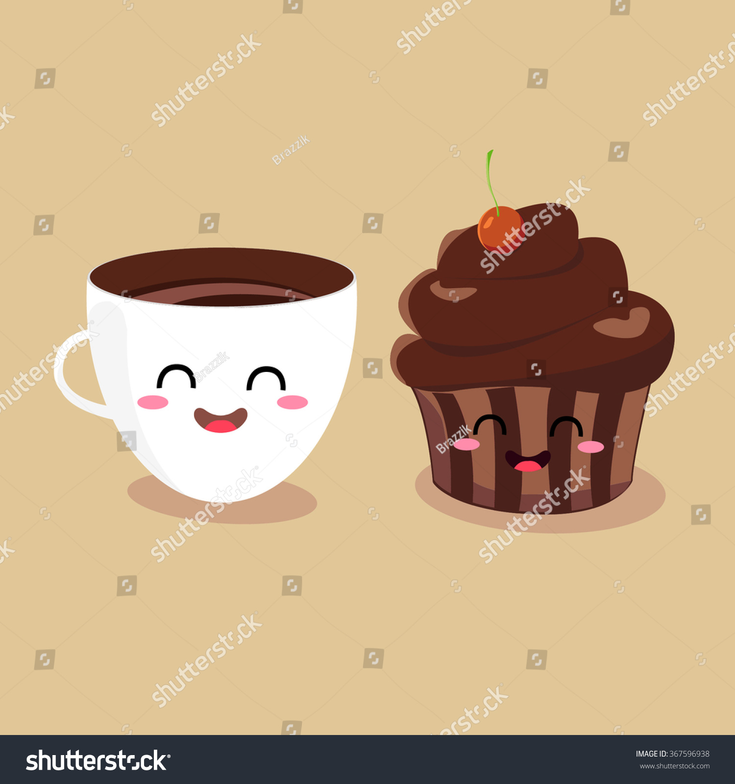 Larger preview vector clip art of a happy yellow coffee cup character - Funny Cartoon Characters Coffee Cup And Muffin Vector Illustration Flat Design