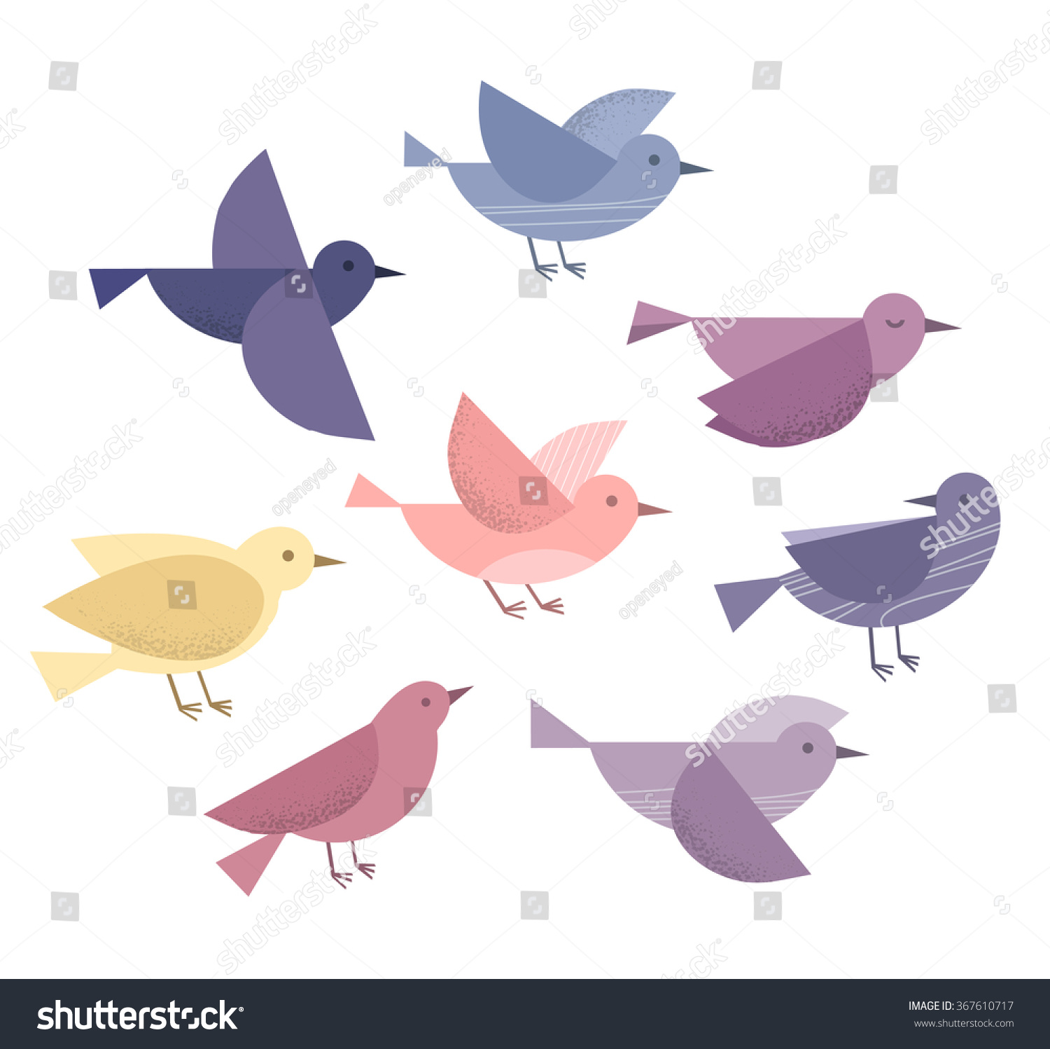 Set of sketches of flying swallows stock vector illustration - Set Of Different Flying Birds Icons Vector Illustration