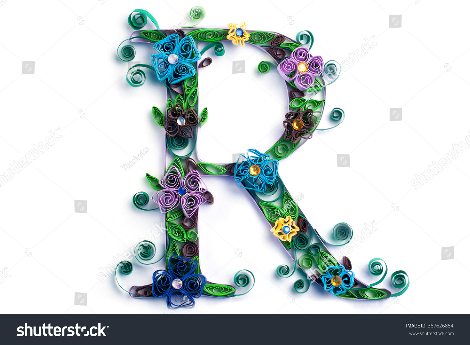 Spring theme quilling letter from quilling fonts collection