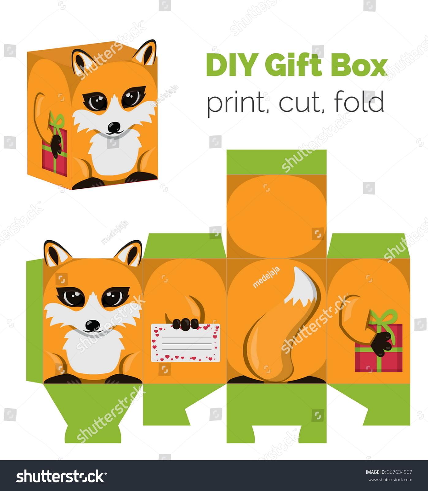 adorable do yourself fox gift box stock vector royalty free