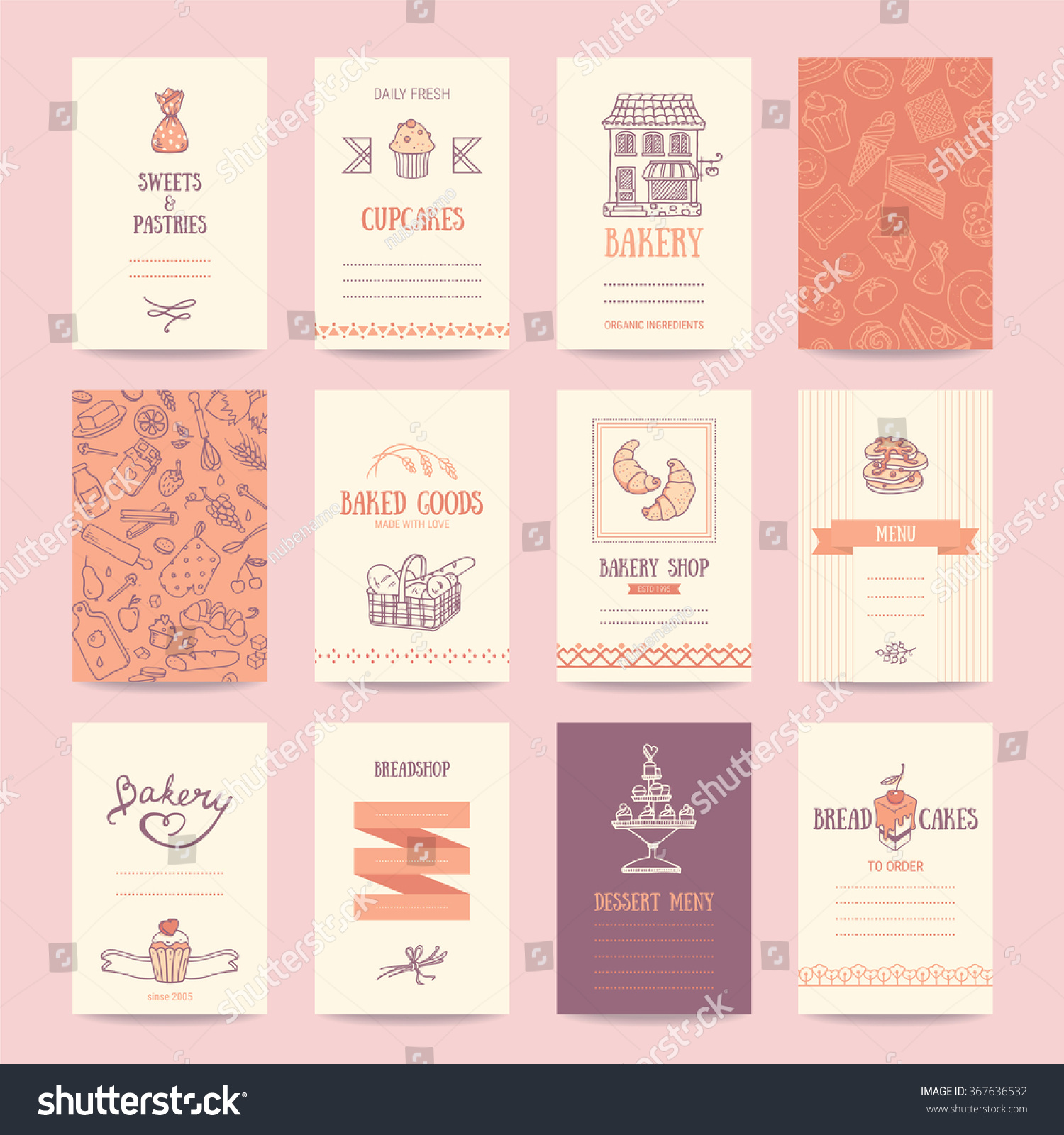 Bakery Shop Business Cards Cafe Menu Stock Vector