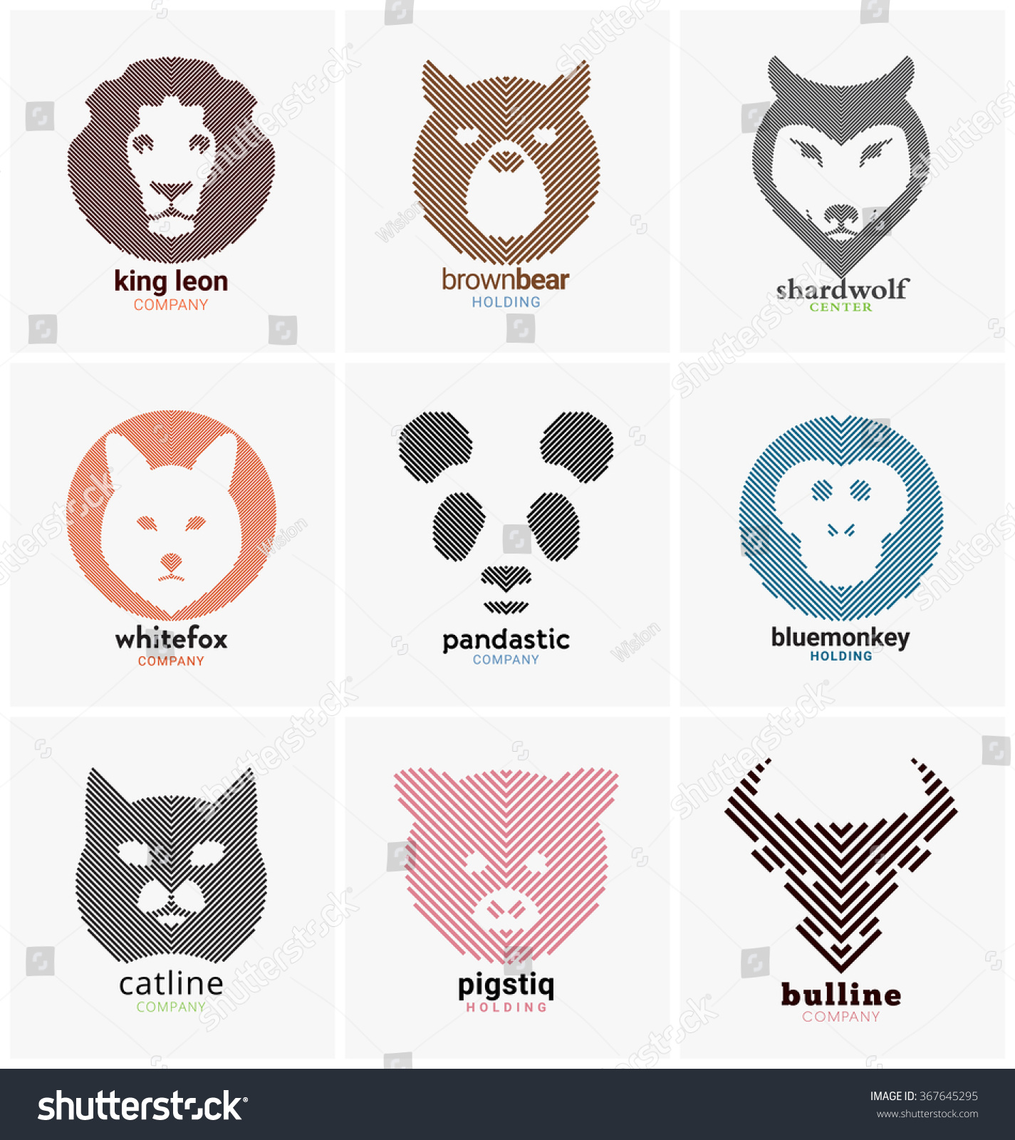 animal themed line logo collection can stock vector 367645295