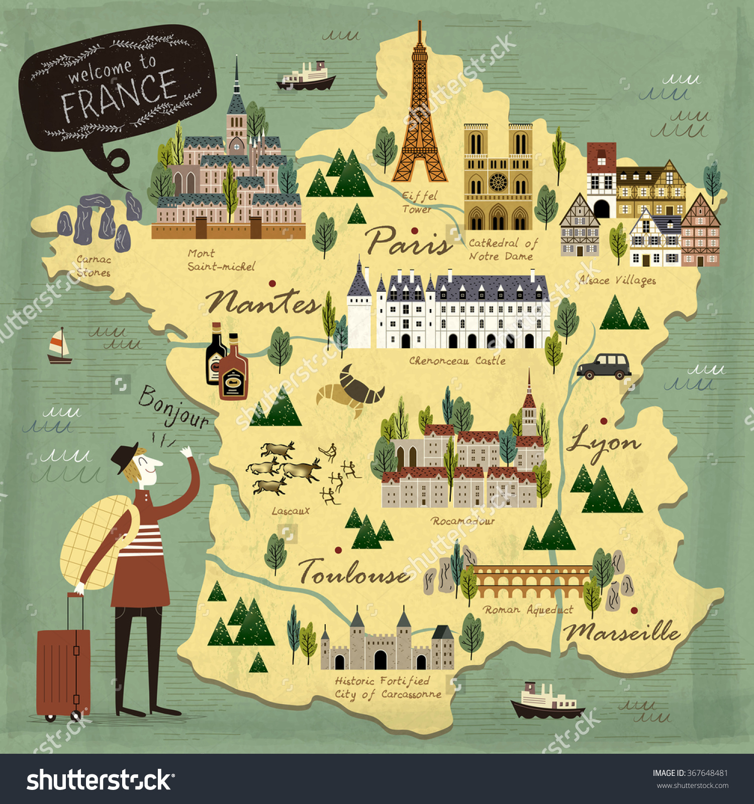 France Travel Concept Illustration Map Attractions Vector – France Tourist Attractions Map