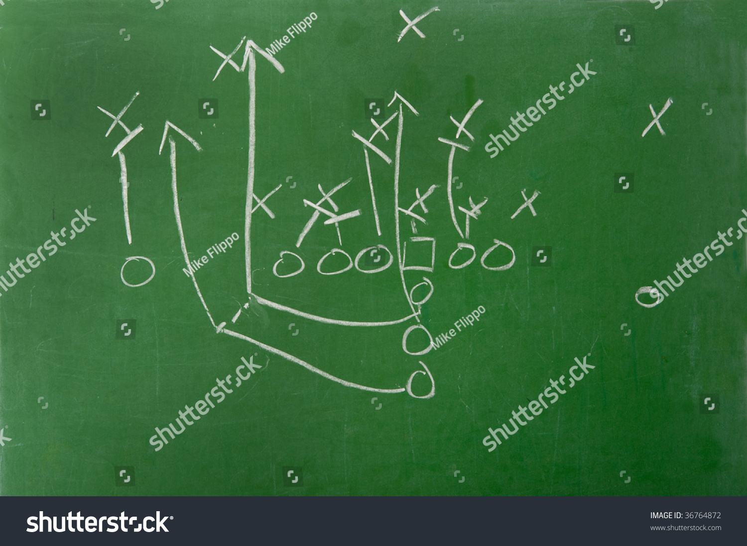 American football play diagram on green stock photo 36764872 an american football play diagram on a green chalkboard pooptronica Images