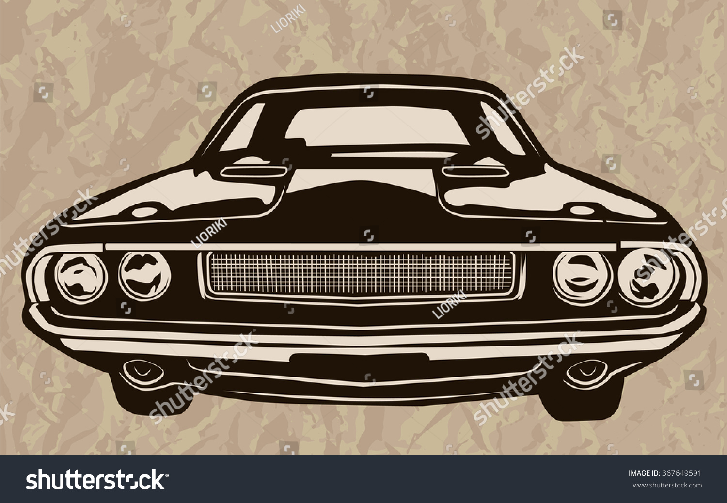 Retro Muscle Cars Inspired Cartoon Sketch Stock Vector