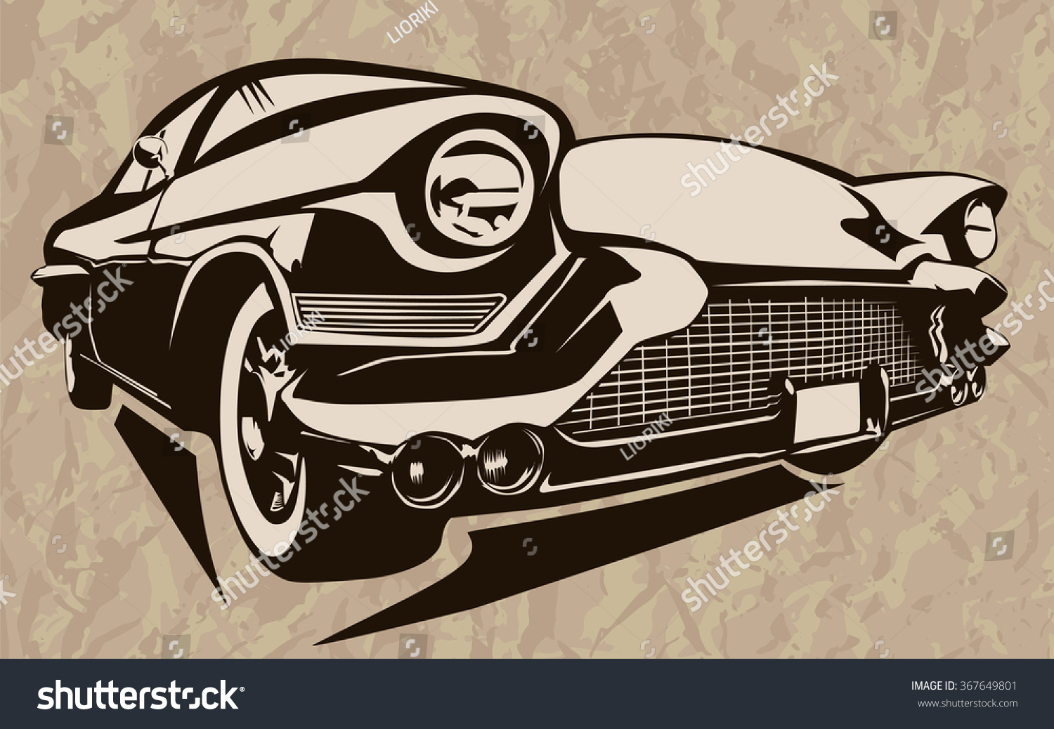 Vintage Muscle Cars Inspired Cartoon Sketch Stock Photo (Photo ...
