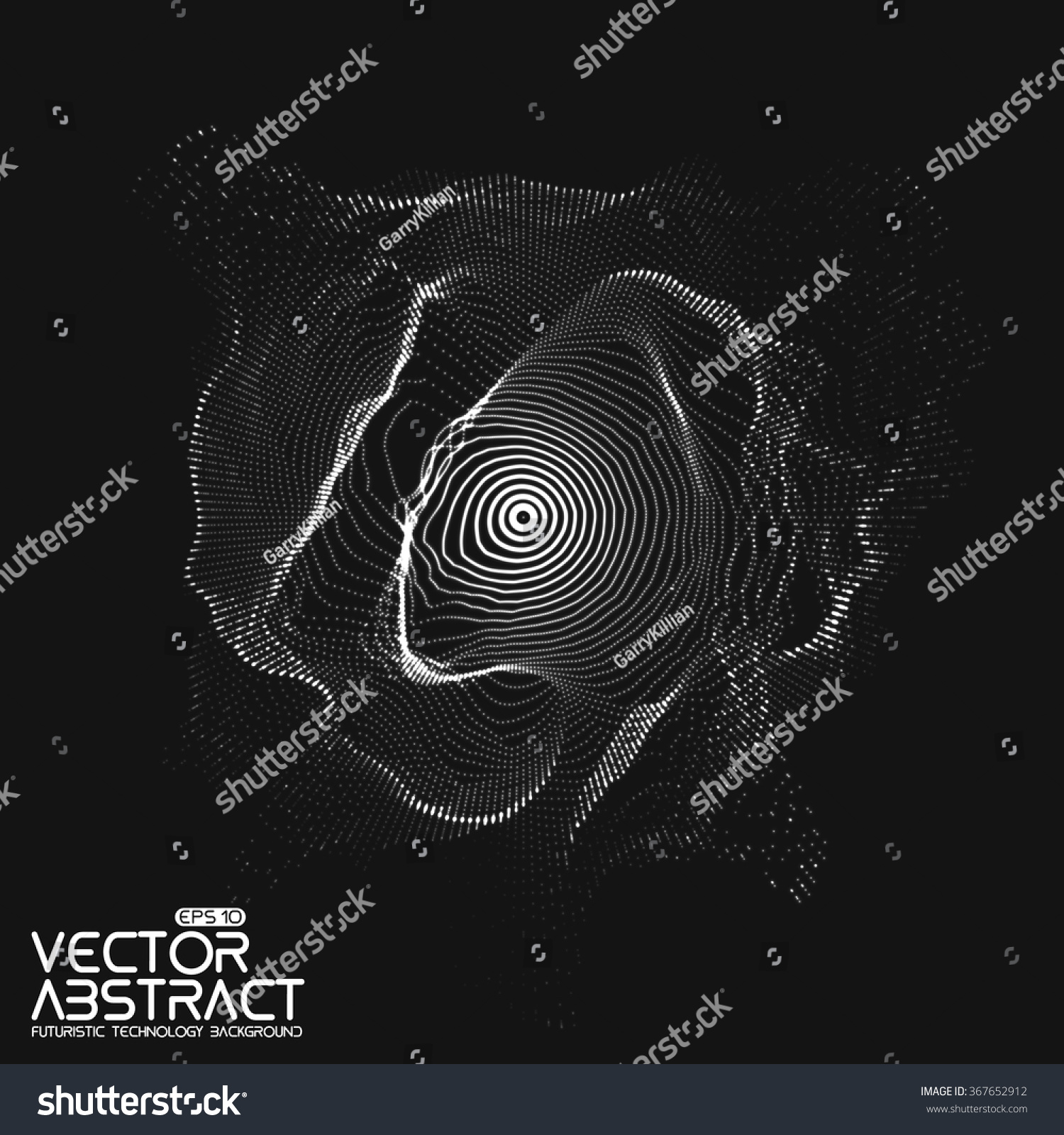 Abstract vector white mesh on dark background. Futuristic style card. Elegant background for business presentations.  Corrupted point sphere.  Chaos aesthetics. #367652912