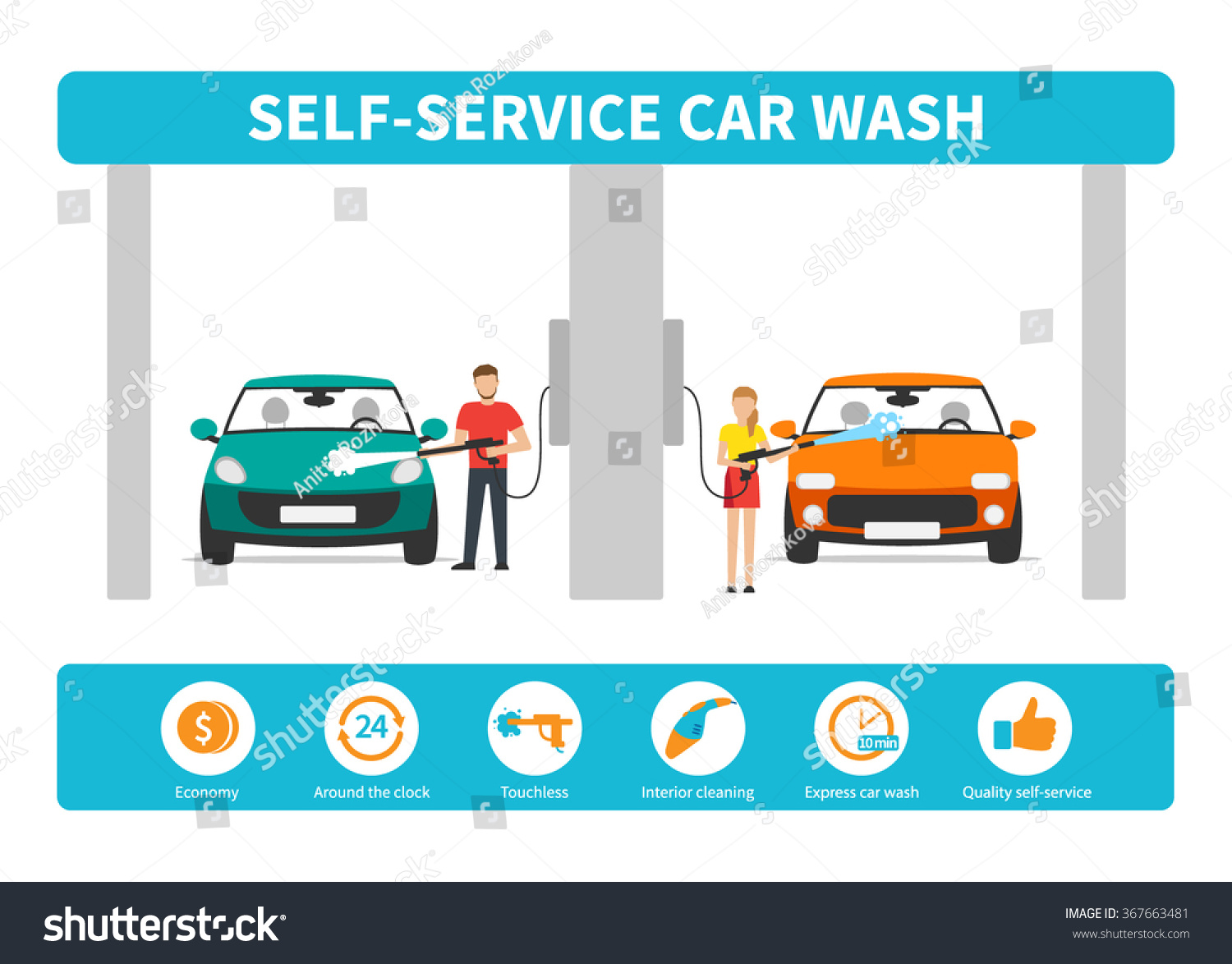 Innovative Selfservice Car Wash Infographics Set Stock